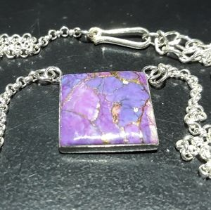 Natural Purple Turquoise Necklace j5